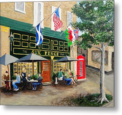 Six Pence Pub Metal Print by Marilyn Zalatan