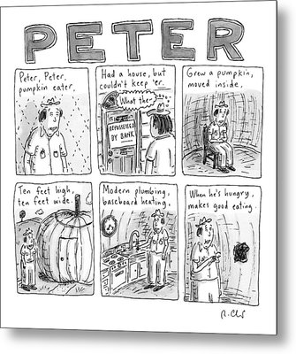 Six Rhyming Panels About A Man Who Moves Metal Print