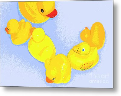 Metal Print featuring the digital art Six Rubber Ducks by Valerie Reeves