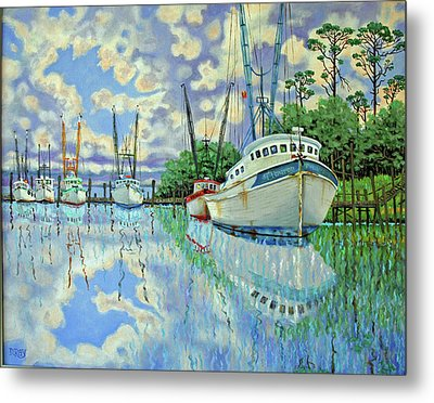 Six Shrimp Boats In Off Season Metal Print