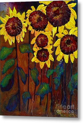 Six Sunflowers Metal Print by Claire Bull