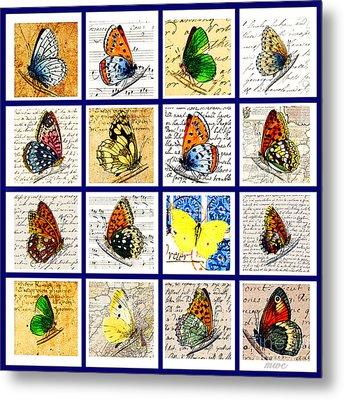 Sixteen Butterflies Metal Print by Marian Cates