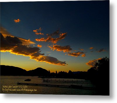Metal Print featuring the photograph Skaha Lake Sunset 02 July02/2013 by Guy Hoffman