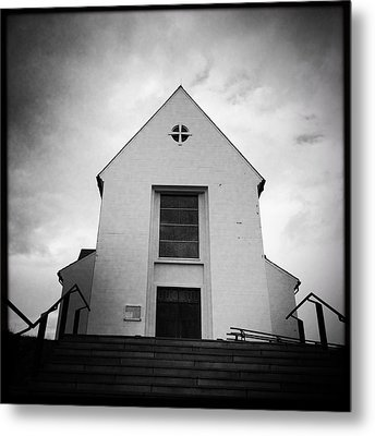 Skalholt Cathedral Iceland Europe Black And White Metal Print