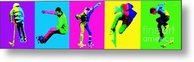 Skateboarders Metal Print by Michelle Orai