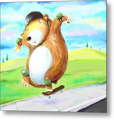 Skateboarding Bear Metal Print