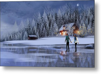 Skating At Christmas Night Metal Print