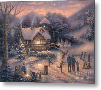 Skating By Twilight Metal Print by Chuck Pinson