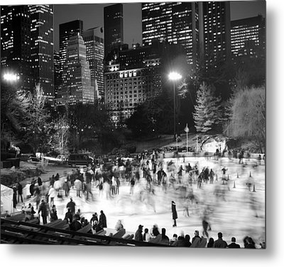 New York City - Skating Rink - Monochrome Metal Print by Dave Beckerman