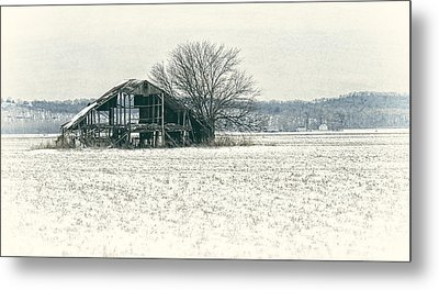 Skeleton Barn Metal Print by Wayne Meyer