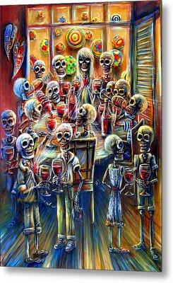 Skeleton Wine Party Metal Print
