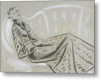 Sketch Of A Woman Wearing A Matelasse House Robe Metal Print