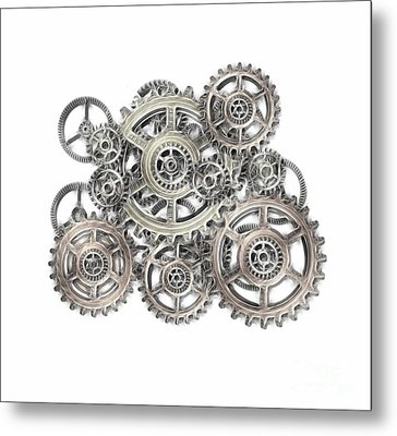 Sketch Of Machinery Metal Print by Michal Boubin