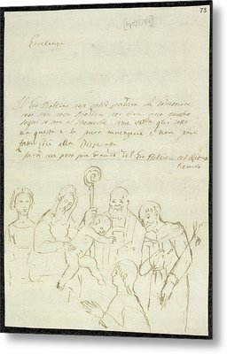 Sketch Of Old Master Painting Metal Print by British Library