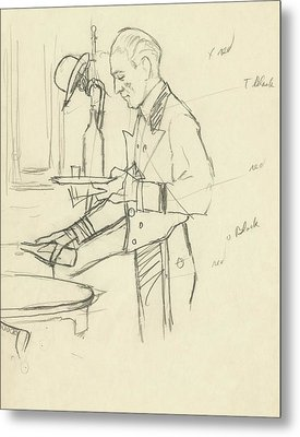 Sketch Of Waiter Pouring Wine Metal Print by Carl Oscar August Erickson