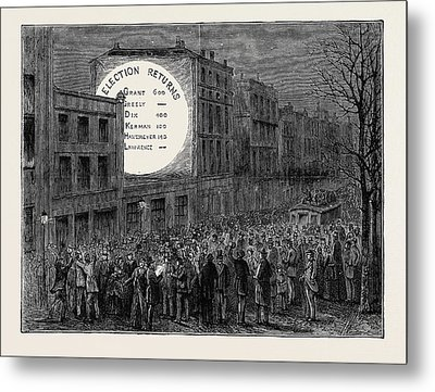 Sketches In New York During The Presidential Election Metal Print by American School