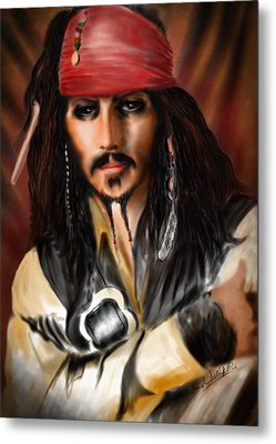 Sketching A Pirate... Metal Print by Alessandro Della Pietra