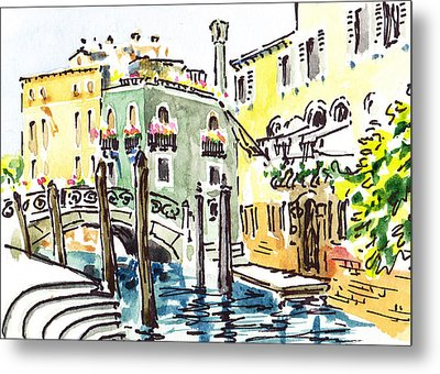 Sketching Italy Venice Canale Metal Print