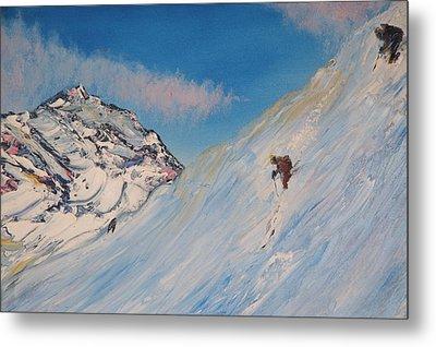 Ski Alaska Heli Ski Metal Print by Gregory Allen Page
