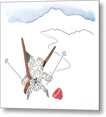Ski Fail Metal Print by Leah Wiedemer
