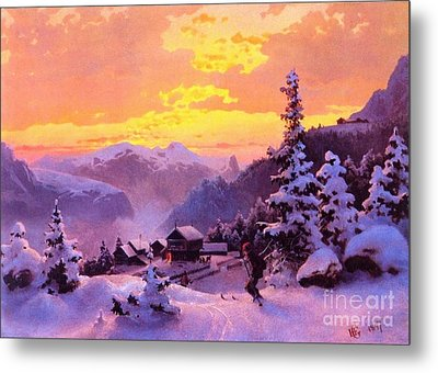 Ski Metal Print by Pg Reproductions