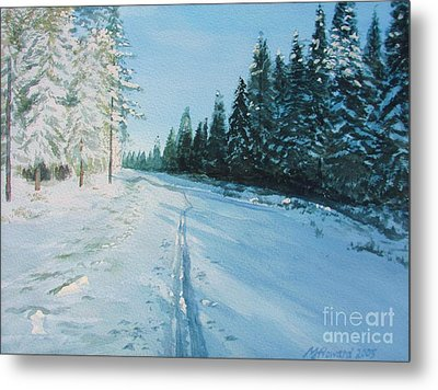 Metal Print featuring the painting Ski Tracks by Martin Howard