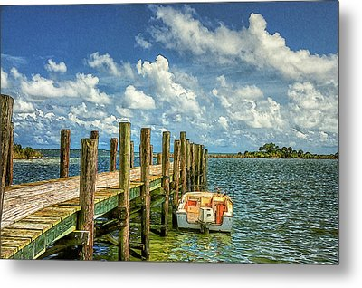 Skiff And Pier Metal Print