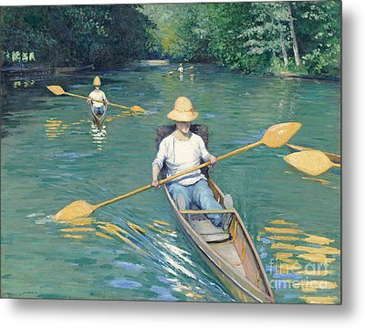 Skiffs Metal Print by Gustave Caillebotte