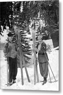 Skiing Badger Pass In Yosemite Metal Print by Underwood Archives