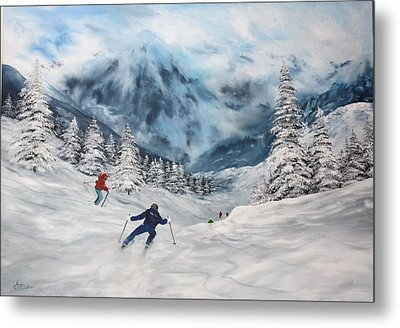 Metal Print featuring the painting Skiing In Italy by Jean Walker