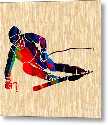 Skiing Metal Print by Marvin Blaine
