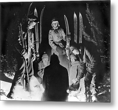Skiing Party Camps In Siberia Metal Print by Underwood Archives