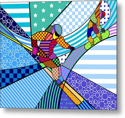 Metal Print featuring the digital art Skiing by Randall Henrie