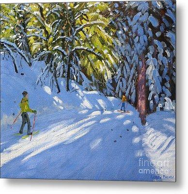Skiing Through The Woods  La Clusaz Metal Print