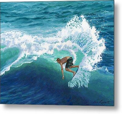 Skimboard Surfer Metal Print by Alice Leggett