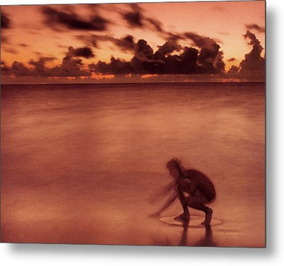 Metal Print featuring the photograph Skimboarding At Dawn by Timothy Lowry