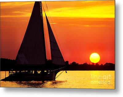 Skipjack At Sunset Metal Print by Thomas R Fletcher