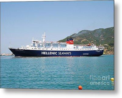 Skopelos Ferry Arrival Metal Print by David Fowler