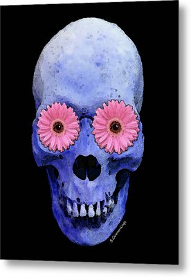 Skull Art - Day Of The Dead 1 Metal Print by Sharon Cummings