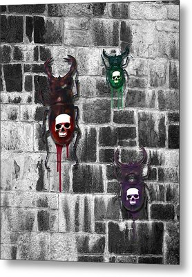 Skull Backed Beatles Metal Print by Diana Shively