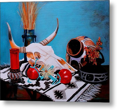 Metal Print featuring the painting Skull Still Life by M Diane Bonaparte
