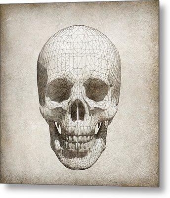 Skull Wireframe On Paper.  Metal Print
