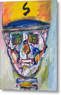 Skull With  Baseball Hat Metal Print
