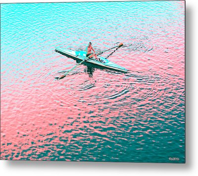 Skulling Boat At Sunset Metal Print by Rebecca Korpita