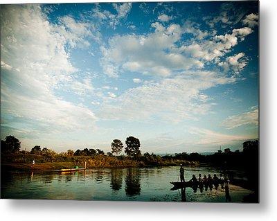Sky And River Wuth Boat Metal Print by Raimond Klavins