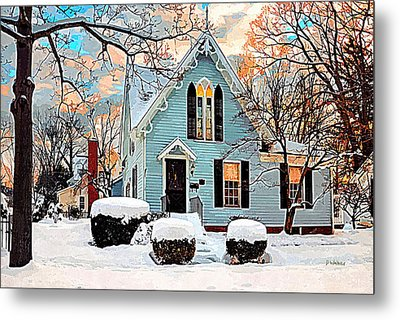 Sky Blue Gingerbread House  Metal Print by Dorothy Walker