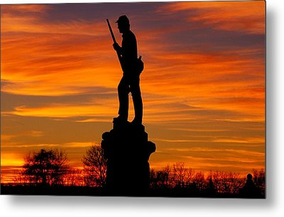 Sky Fire - 128th Pennsylvania Volunteer Infantry A1 Cornfield Avenue Sunset Antietam Metal Print by Michael Mazaika