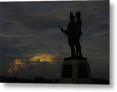 Sky Fire - 73rd Ny Infantry 4th Excelsior 2nd Fire Zouaves - Summer Evening Thunderstorms Gettysburg Metal Print by Michael Mazaika