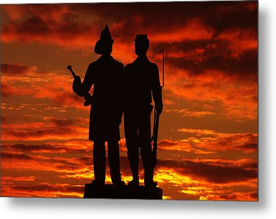 Sky Fire - 73rd Ny Infantry Fourth Excelsior Second Fire Zouaves-a1 Sunrise Autumn Gettysburg Metal Print