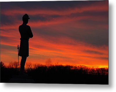 Sky Fire - Aotp 124th Ny Infantry Orange Blossoms-2a Sickles Ave Devils Den Sunset Autumn Gettysburg Metal Print by Michael Mazaika